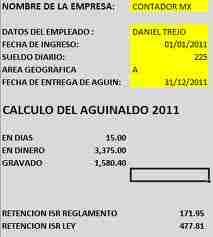 calculo aguinaldo 2011