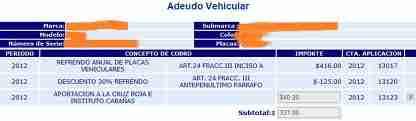 adeudo vehicular jalisco 2012