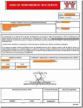 aviso suspension descuento infonavit