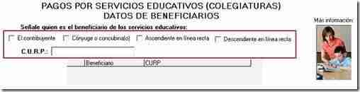 curp deduccion colegiaturas