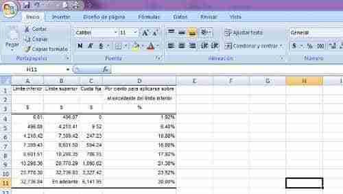 calcular ISR excel 1