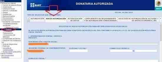solicitar autorizacion donataria SAT