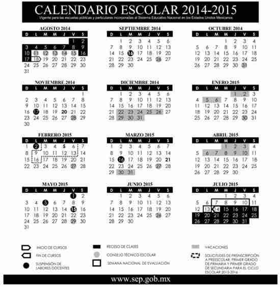 Calendario SEP 2015