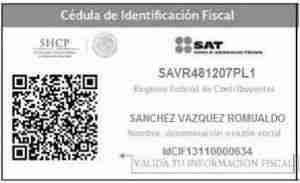 Cedula de Identificacion Fiscal CIF del SAT
