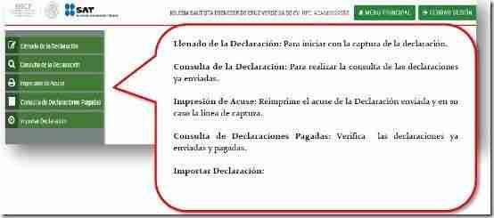 menu declaracion Personas Morales en Linea