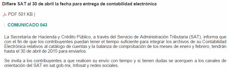 prorroga abril 2015 Contabilidad Electronica