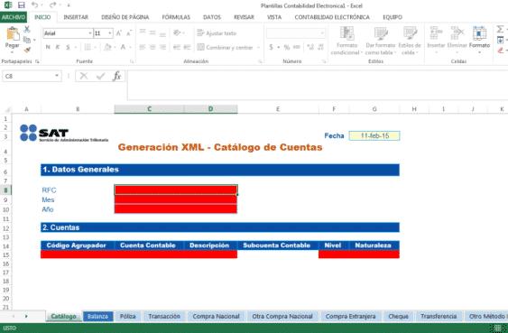 xml excel contabilidad electronica SAT