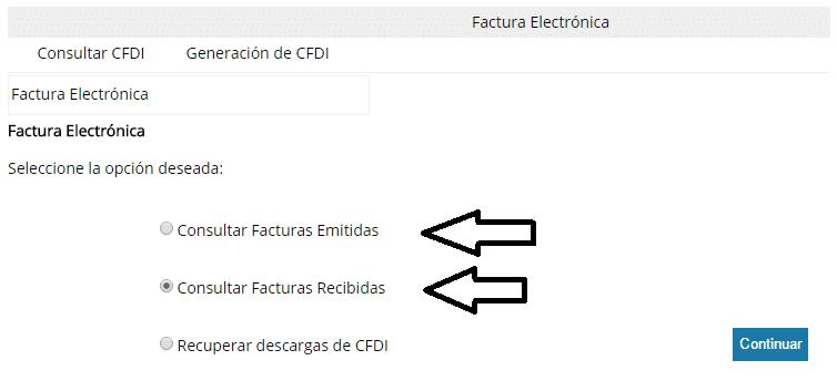 elegir facturas emitidas o recibidas
