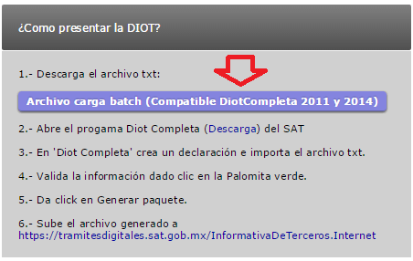 descargar carga batch layout DIOT