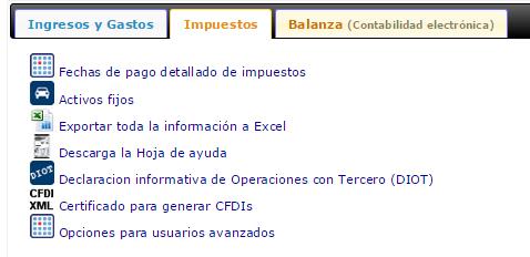 menu impuestos contabilidad electronica cmx