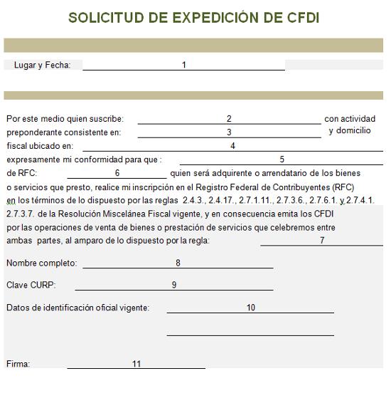 solicitud de expedicion de cfdi