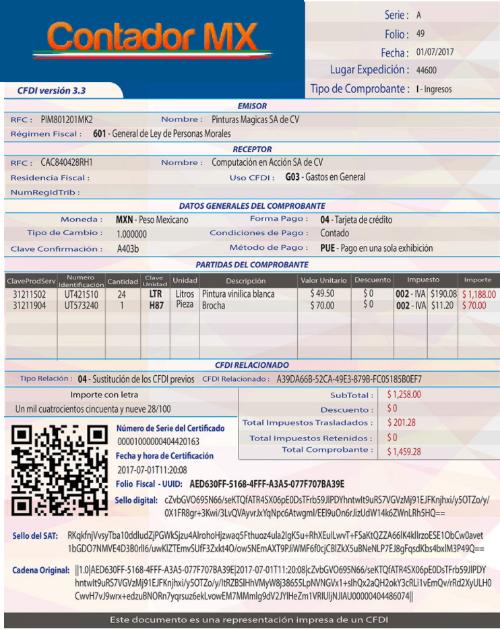 Ejemplo del CFDI version 3.3 y nuevos cambios del Anexo 20 - ContadorMx