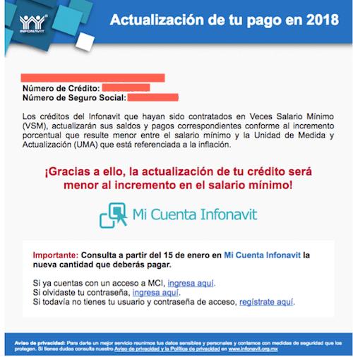 factor de descuento creditos infonavit 2019