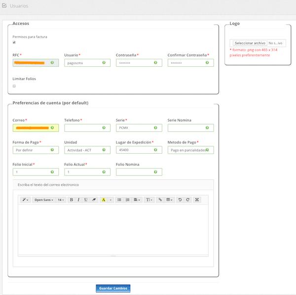 crear usuario para CFDI pagos