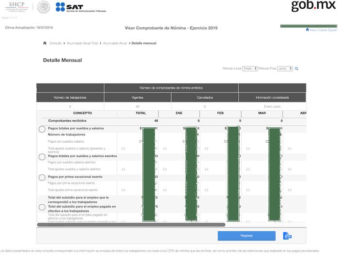 visor de nominas SAT detalle mensual general acumulado exentos y gravados
