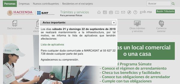 aviso de mantenimiento pagina del SAT