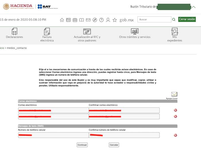datos de contacto actualizados buzon tributario SAT