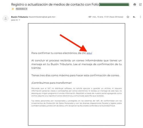 verificar medio de contacto buzon tributario SAT correo electronico