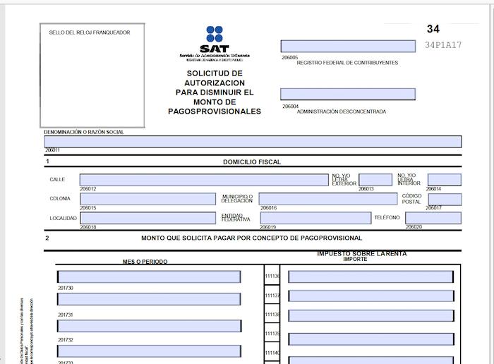 formato 34 editable PDF SAT