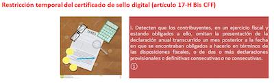 restriccion de sellos digitales del SAT