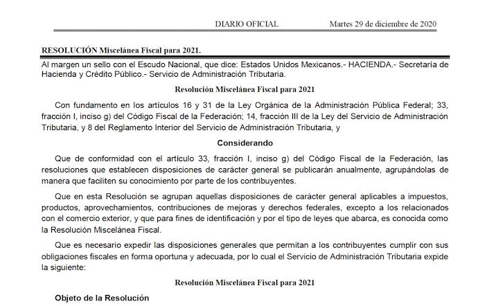 Resolucion Miscelanea Fiscal 2021 En Pdf Publicada En El Dof Contadormx
