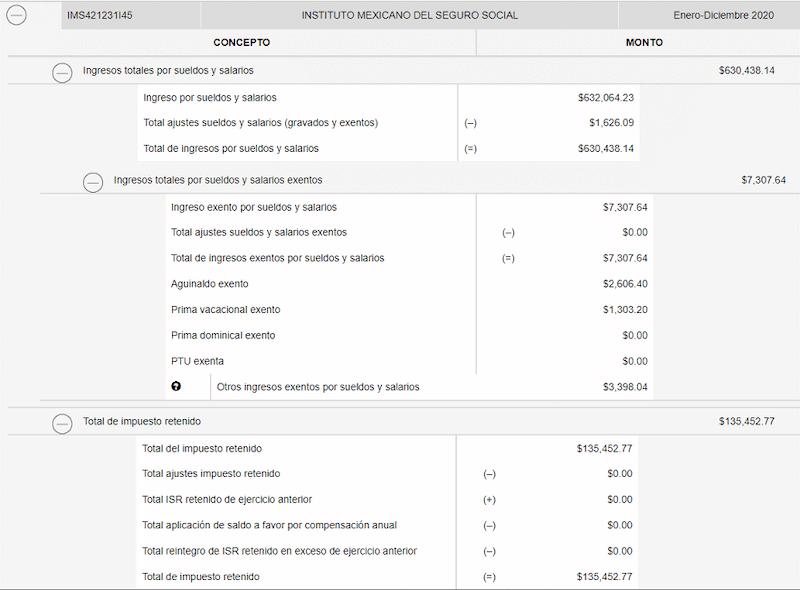 ingresos por salarios visor nomina SAT patron 2