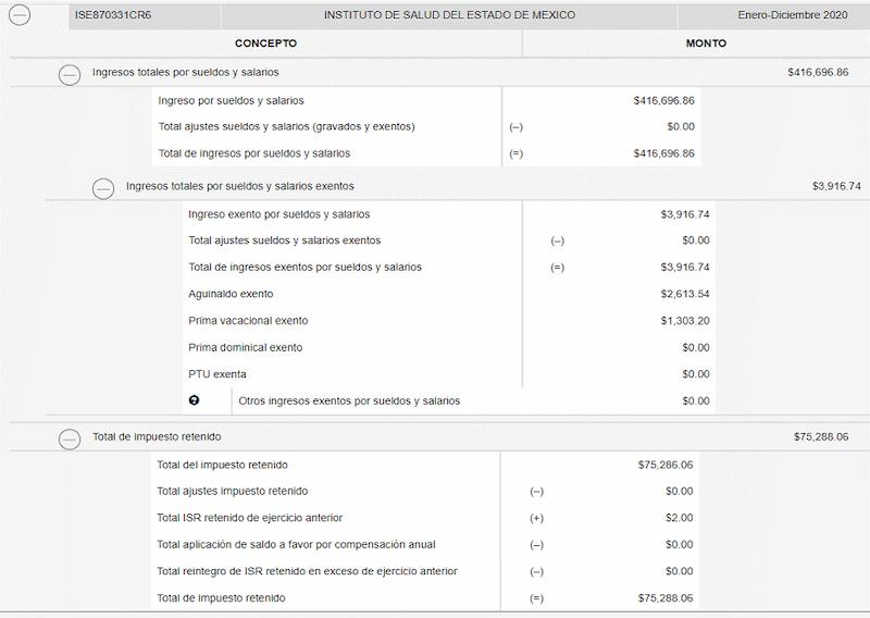 ingresos por salarios visor nomina SAT