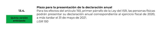 prorroga declaracion anual 2020 personas fisicas SAT